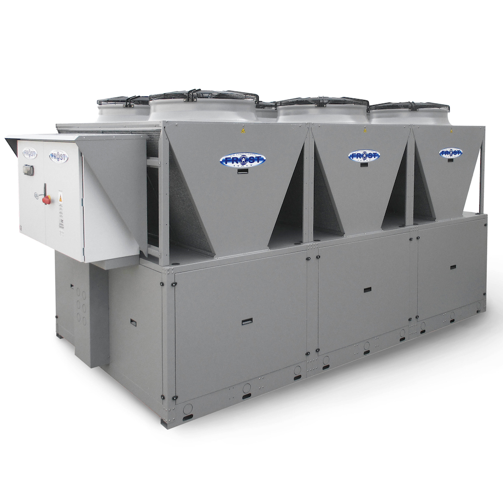 Air condensed chillers and heat pumps units
